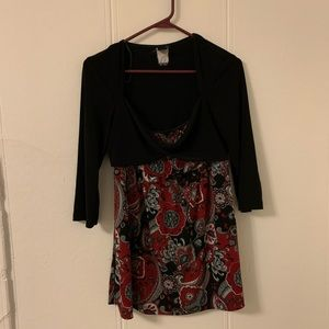 Body Central Red & Black Blouse Size Medium